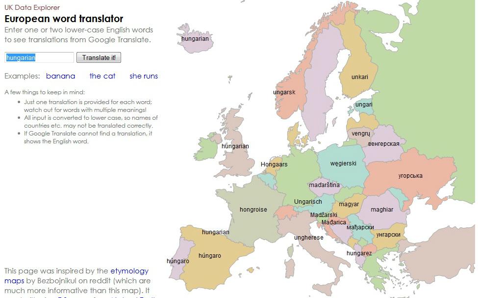 európa térkép online Ilyent még nem láttál: interaktív európai szófordító térkép európa térkép online