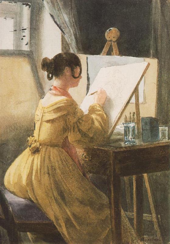 Műteremben (1838, Bethlen Farkasné, született Teleki Róza)