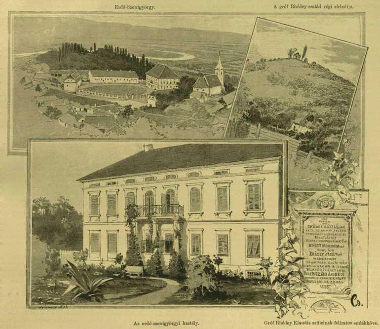 19. századi metszet a Rhédey kastélyról, a templomról, és a ma már nem létező kriptáról