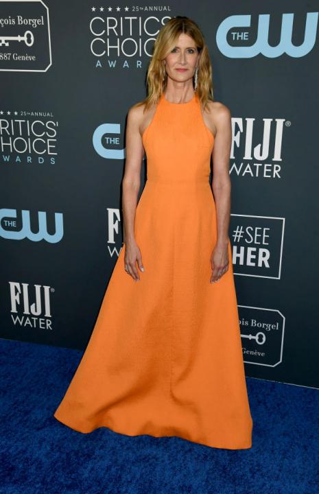 Izgalma színválasztás, egyszerű szabás – ilyen ruhában tündökölt Laura Dern, aki a legjobb női mellékszereplőnek járó díjat vehette át.