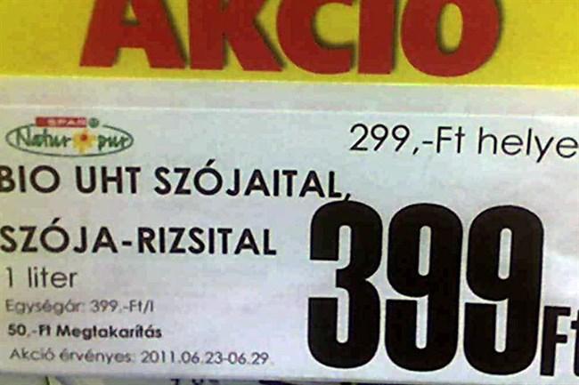Akció! Ma csak száz forinttal drágább.